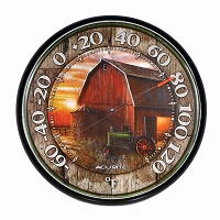 Farm Sunset Round Thermometer