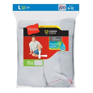 Hanes Men's Cushion Crew Socks